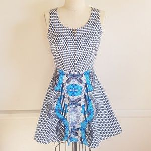 Polka Dot Flare  Cocktail Dress with Floral print